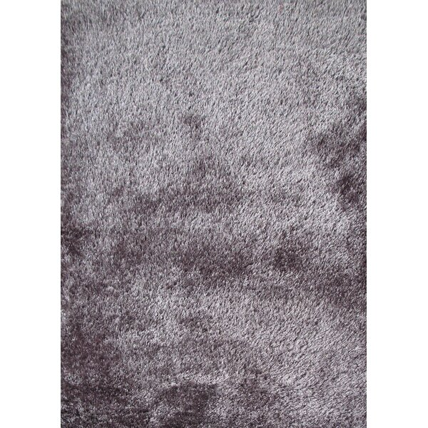 Shaggy Viscose Solid Gray Area Rug by Rug Factory Plus