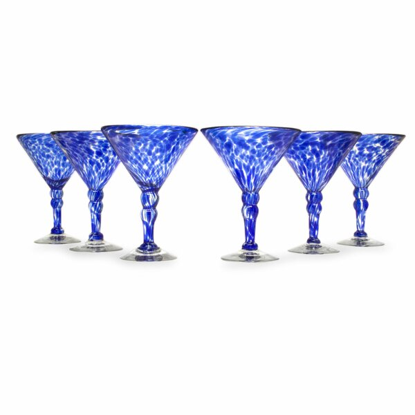 Hand Blown 10 Oz. Martini Glass (Set of 6) by Novica