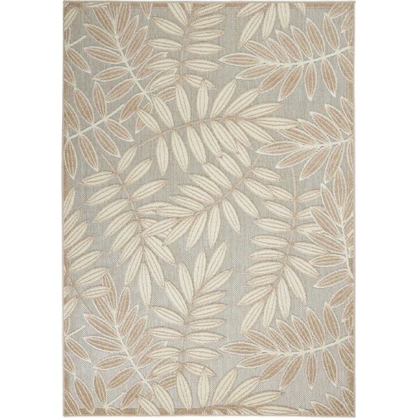 Seaside Contemporary Leaves Flatweave Beige/Gray Indoor/Outdoor Area Rug by Bay Isle Home