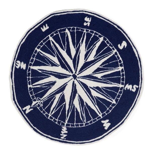 Walton Compass Navy Indoor/Outdoor Area Rug by Breakwater Bay