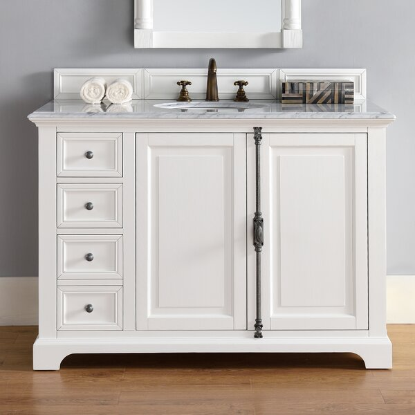 Ogallala 48 Single Cottage White Stone Top Bathroom Vanity Set by Greyleigh