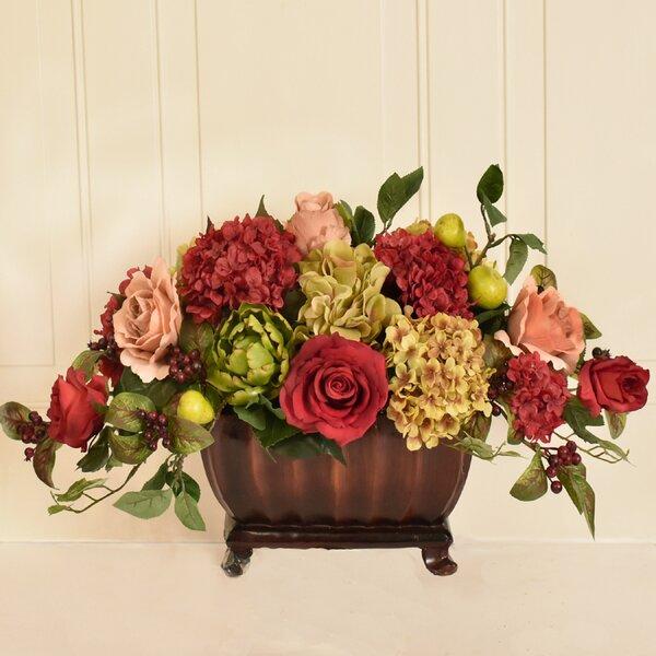 Hydrangea, Rose and Artichoke Centerpiece by Fleur De Lis Living