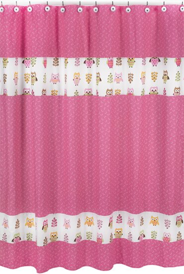 Happy Owl Cotton Shower Curtain by Sweet Jojo Designs