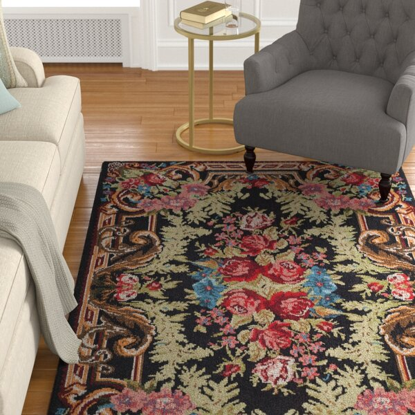 Frederica Black/Pink Area Rug by Astoria Grand