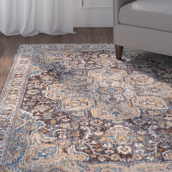 Matteson Traditional Oriental Brown/Blue Area Rug by Three Posts