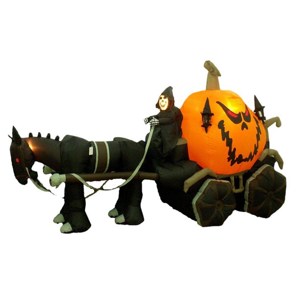 Halloween Inflatable Skeleton Ghost Driving Carriage Decoration by The Holiday Aisle