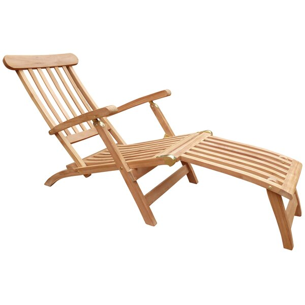 Costanza Reclining Teak Chaise Lounge by Highland Dunes Highland Dunes