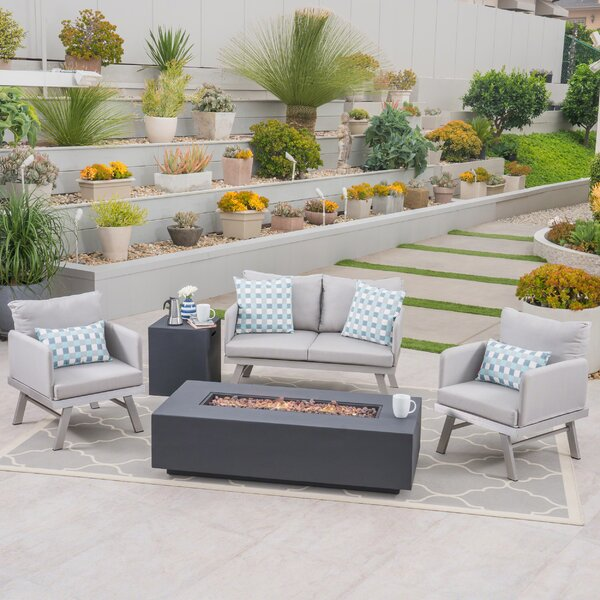 Alfred Outdoor Modern 5 Piece Sofa Seating Group with Cushion by Orren Ellis Orren Ellis