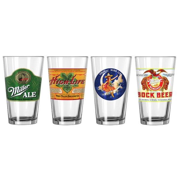 Miller 4 Piece 16 Oz. Retro Variety Pint Glass Set by Boelter Brands