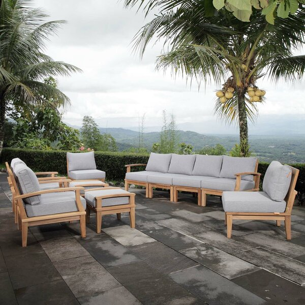 Elaina Outdoor Patio 10 Piece Teak Sectional Seating Group with Cushion by Rosecliff Heights