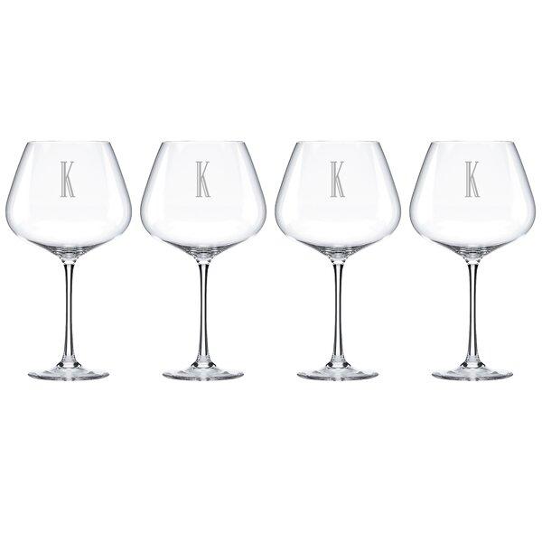 Charcoal Diamond Tuscany Monogram Burgundy 28 Oz. Red Wine Glass (Set of 4) by Lenox