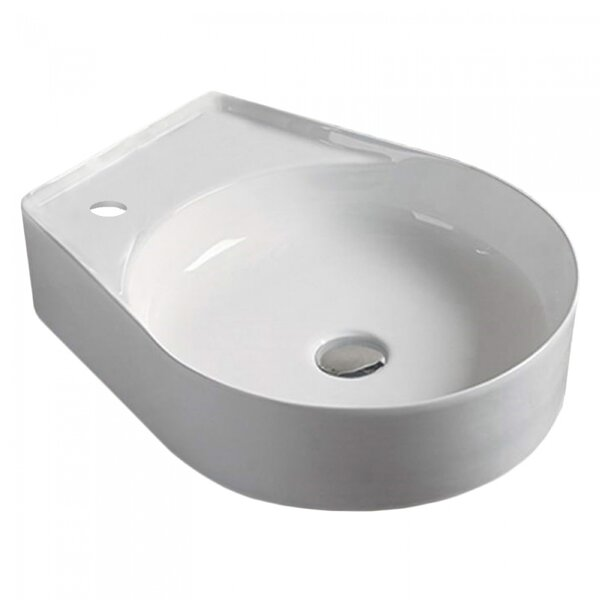 Above Counter for 1 Hole Left Ceramic Oval Vessel Bathroom Sink