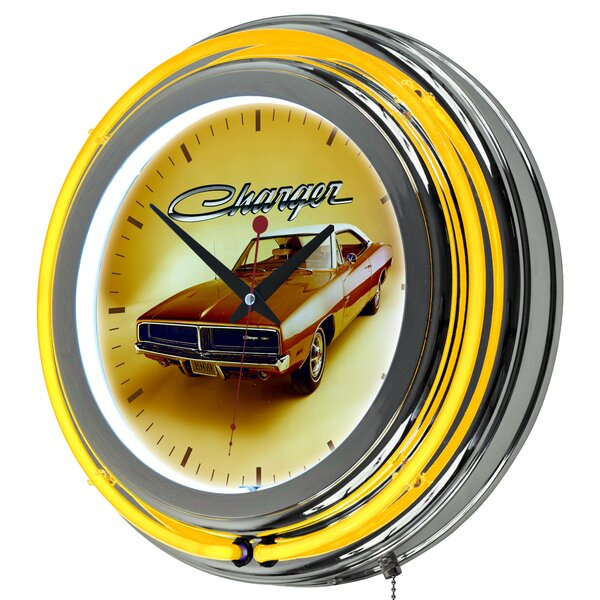 Dodge 69 Charger Neon 14.5 Wall Clock by Trademark Global