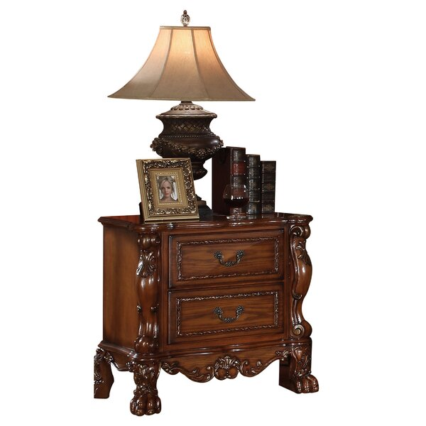 Meyers Traditional Wooden 2 Drawer Nightstand by Astoria Grand Astoria Grand