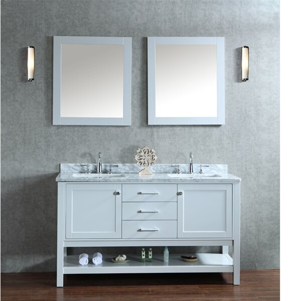 Babineaux 60 Double Bathroom Vanity Set with Mirror by Three Posts