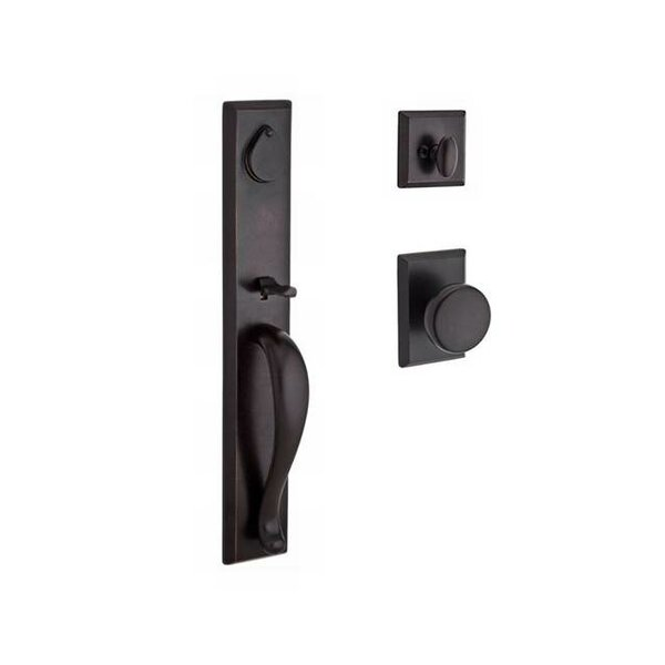 Longview Single Cylinder Handleset with Rustic Door Knob and Rustic Square Rose by Baldwin