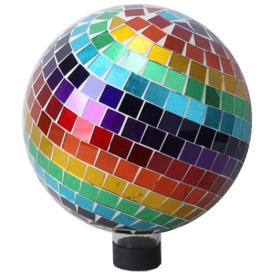 Rainbow Mosaic Glass Gazing Globe by VCS