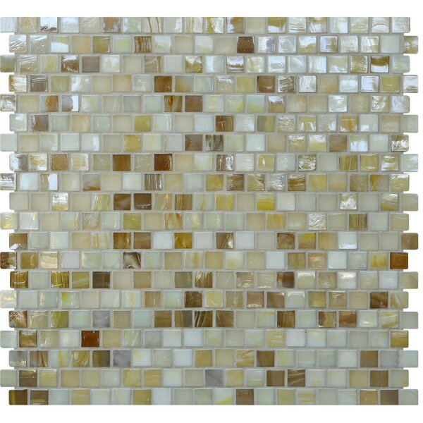 Opal 0.63 x 0.63 Glass Mosaic Tile in Crème Brulee by Kellani