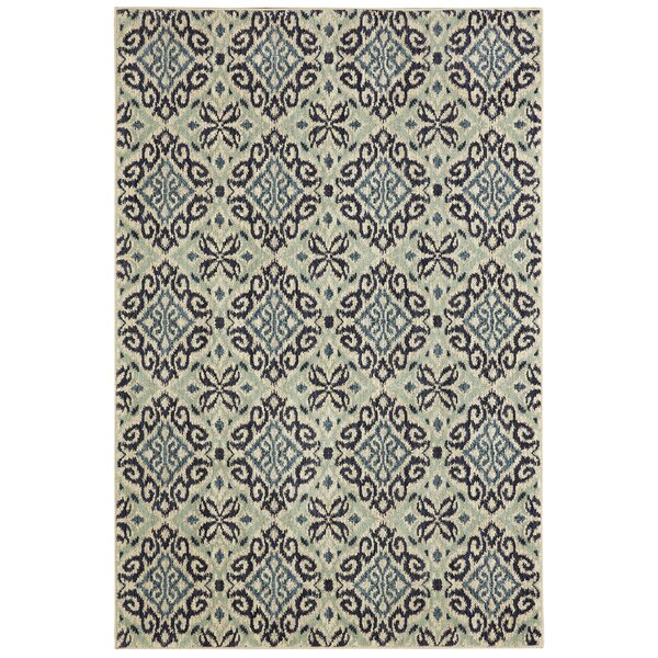 Lakemont Machine Woven Wool Gray/Aqua Area Rug by Darby Home Co