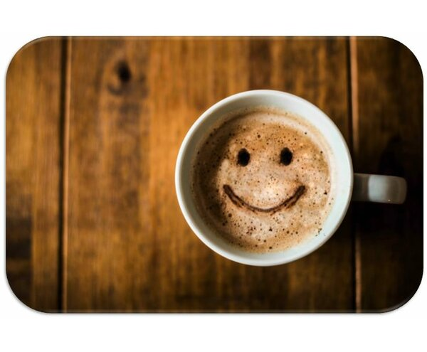 Coffee Smile Print Slip-Resistant Foam 19 Placemat (Set of 8) by Dainty Home