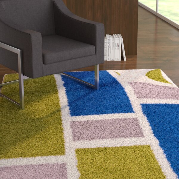 Dondre Green/Blue Indoor Area Rug by Ebern Designs