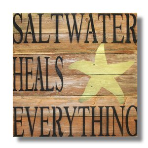 'Saltwater Heals Everything' Textual Art Plaque by Beach Frames