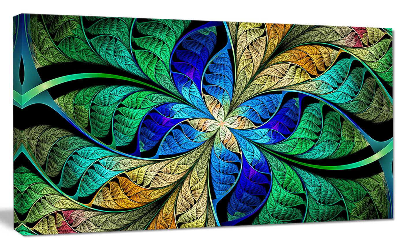 Designart Blue Green Fractal Flower Petals Graphic Art On Canvas Wayfair