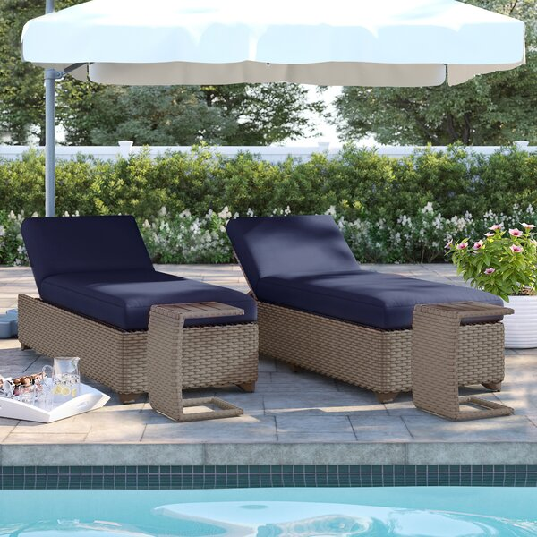 Rochford Reclining Chaise Lounge with Cushion and Table by Sol 72 Outdoor Sol 72 Outdoor