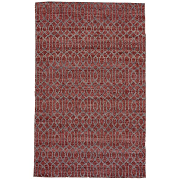 Bannerdown Hand-Loomed Dark Red Area Rug by Wade Logan