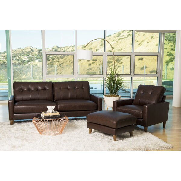 Annalise Wright Mid-Century 3 Piece Leather Living Room Set by Corrigan Studio