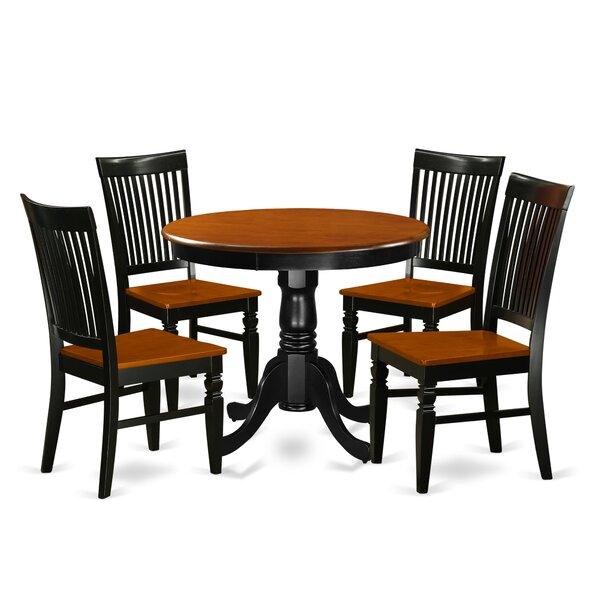Hassan 5 Piece Solid Wood Breakfast Nook Dining Set