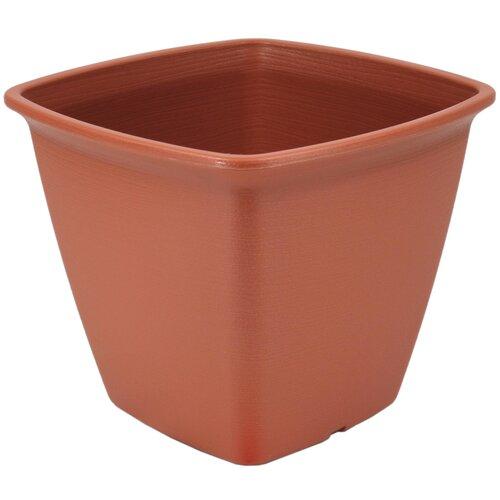 Square Plastic Plant Pot IRIS Colour: Brown, Size: 25.3cm H