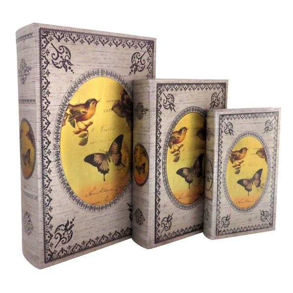 Bird and Butterfly Storage Wood 3 Piece Decorative Box Set by Jeco Inc.