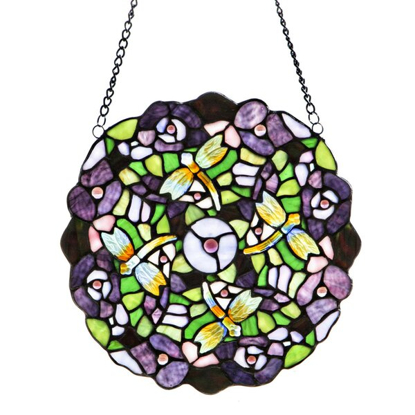 Tiffany Style Stained Glass Pansy Window Panel by Fleur De Lis Living