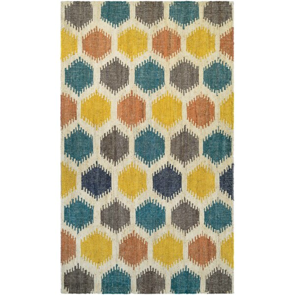 Jemnice Hand Woven Linen/Ocean Area Rug by Bungalow Rose