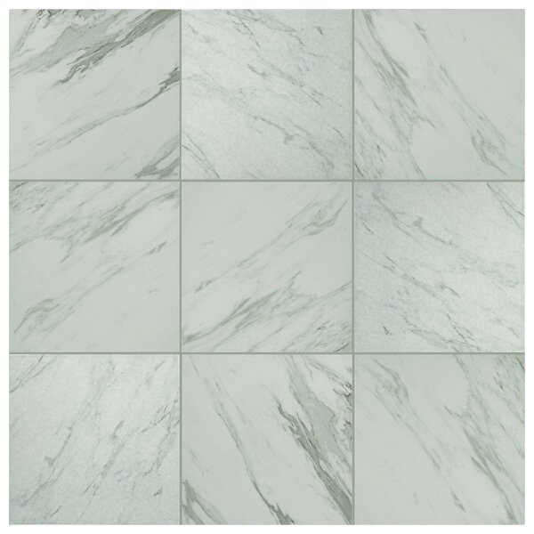 Marbre Carrara 9.75 x 9.75 Porcelain Field Tile in Gray/White by EliteTile