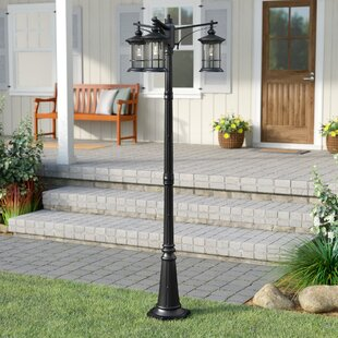 outdoor pole lamps pedestal shaws outdoor 3light 82 lamp post lights youll love wayfair