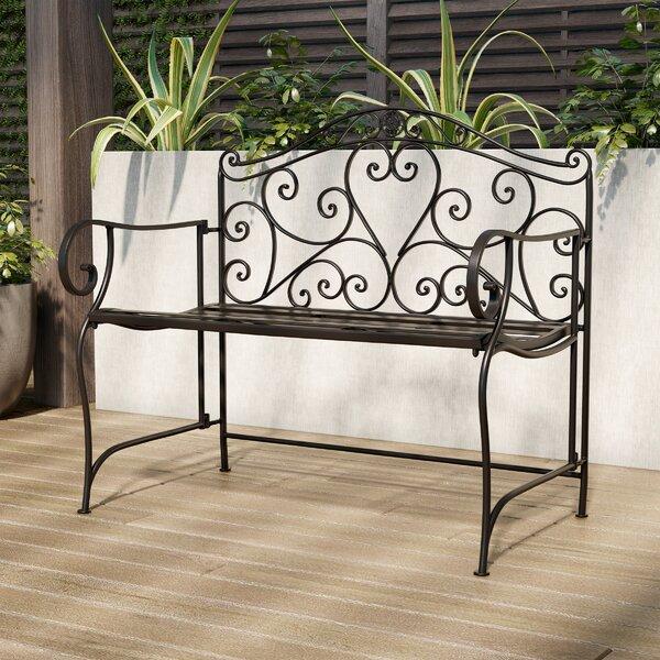 Salamone Folding Metal Garden Bench by Fleur De Lis Living