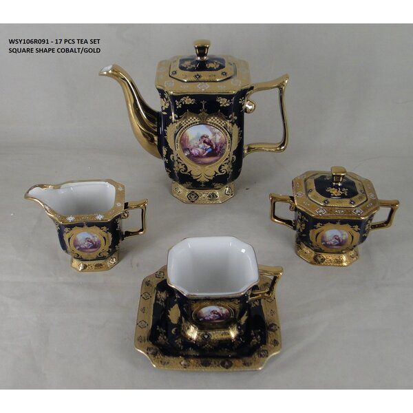 Licata Romance Design Square Shape 17 Piece Porcelain China Tea Set by Astoria Grand