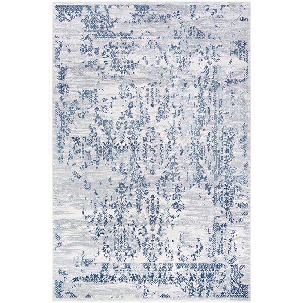 Jakes Steel Blue/Ivory Area Rug by Ophelia & Co.
