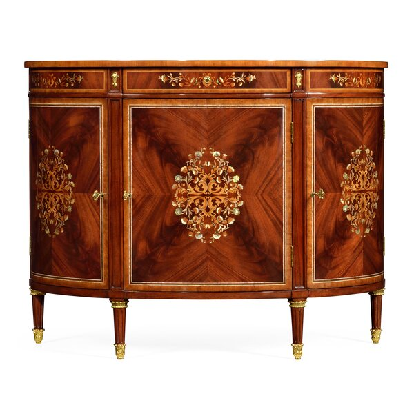 Regency Mahogany and Mother of Pearl Demilune 1 Drawer Accent Cabinet by Jonathan Charles Fine Furniture