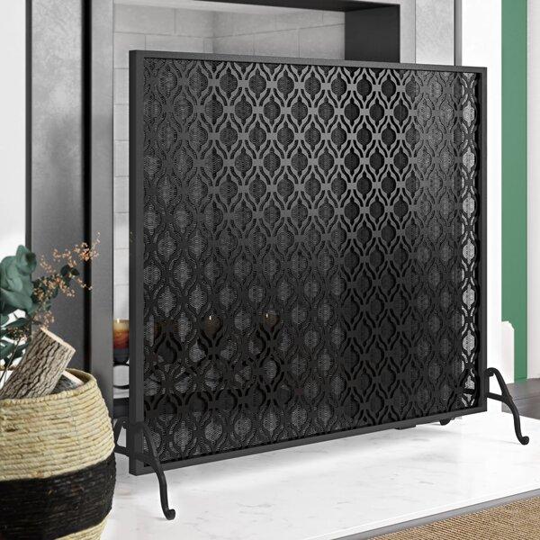Tennison Single Panel Iron Fireplace Screen By Fleur De Lis Living