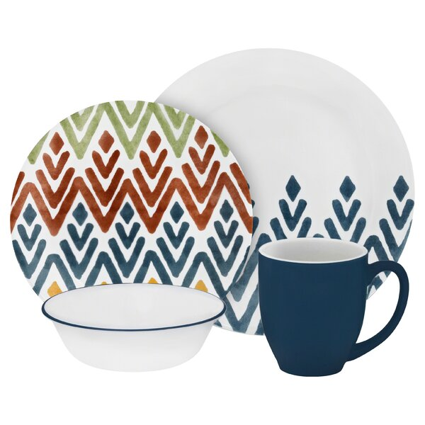 Vive Zamba 16 Piece Dinnerware Set, Service for 4 by Corelle