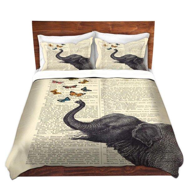 Elephant Butterflies Duvet Cover Set by DiaNoche Designs