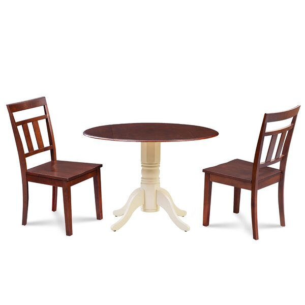 Duke 3 Piece Drop Leaf Solid Wood Dining Set by Millwood Pines