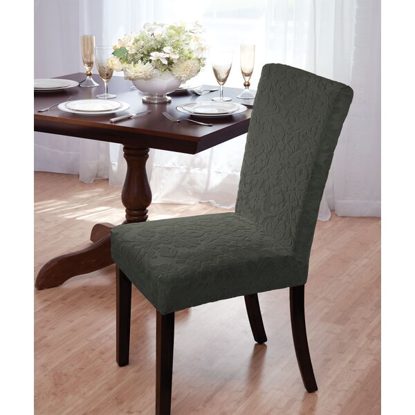 Velvet Damask Box Cushion Dining Chair Slipcover By Astoria Grand