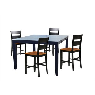 Hassen 5 Piece Counter Height Extendable Solid Wood Dining Set ByAlcott Hill