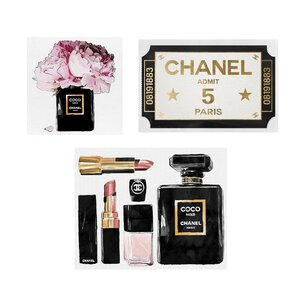 'Chanel - Admit 1' 3 Piece Graphic Art Print Set on Canvas by Oliver Gal
