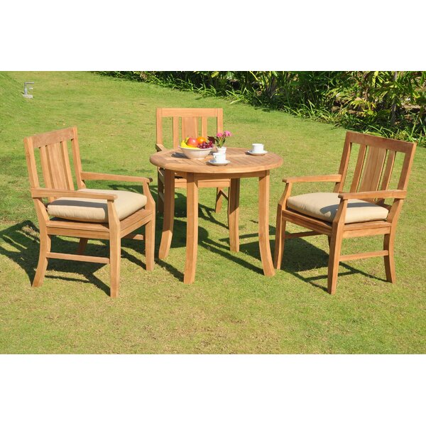 Kevon Luxurious 4 Piece Teak Dining Set by Rosecliff Heights
