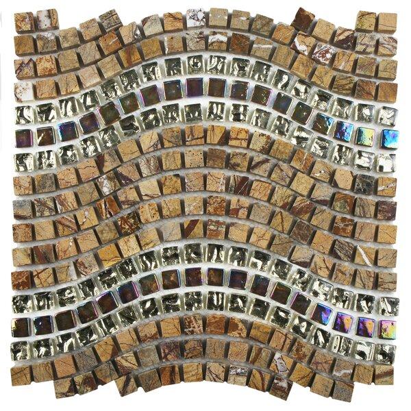 Sierra 0.563 x 0.563 Glass/Stone/Metal Mosaic Tile in Wave Jupiter by EliteTile